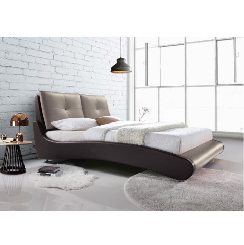 Manželská postel, s roštem, ekokůže hnědá / capuccino, 180x200, ARGOS