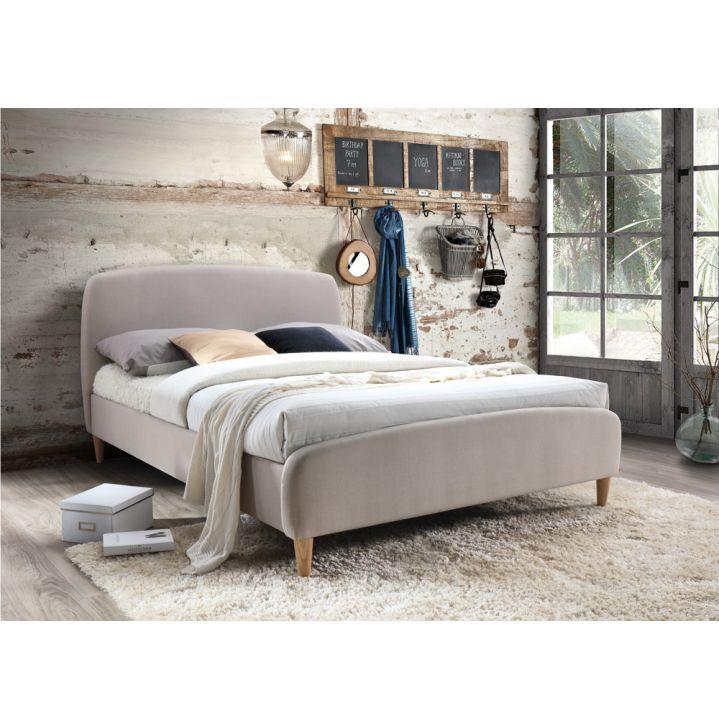 Tempo Kondela Manželská postel Rupa 160x200 - béžová látka + kupón KONDELA10 na okamžitou slevu 10% (kupón uplatníte v košíku)