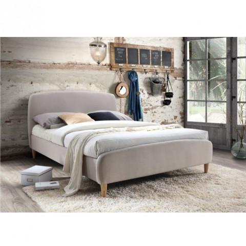 Manželská postel s roštem, 180x200, béžová látka / dřevěné nohy, Rupa