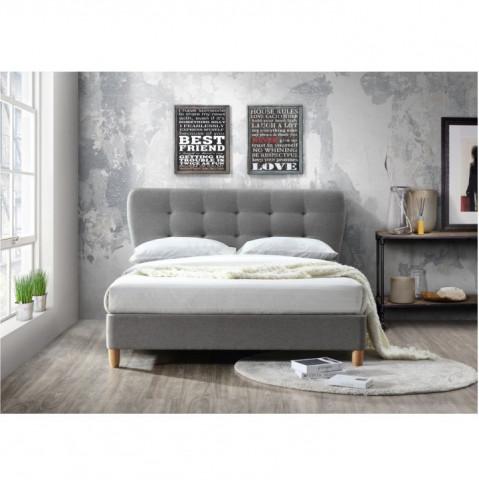 Manželská postel s roštem, 180x200, látka / dřevo, šedý melír / dub, NORIKA