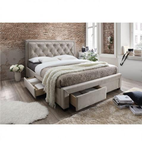 Manželská postel s roštem, 180x200, látka šedohnědá, OREA