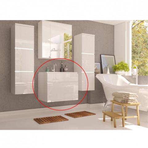 Skříňka pod umyvadlo MASON WH13 - bílá / bílý lesk