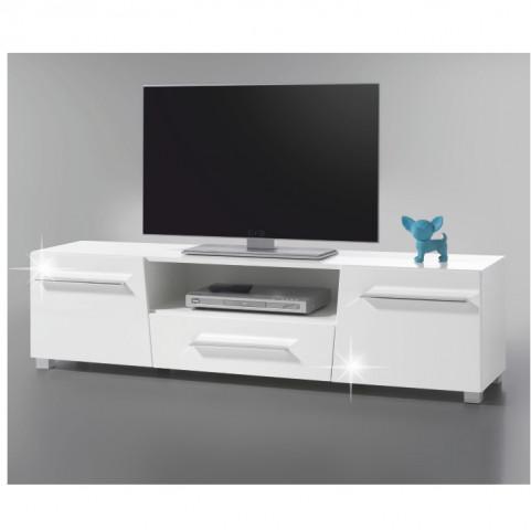 Televizní stolek STRAGY - bílá extra vysoký lesk