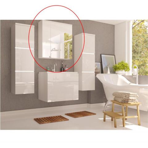 Skříňka se zrcadlem MASON - bílá / bílý lesk