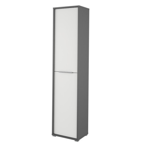 Vysoká policová skříň Rioma TYP06 - grafit / bílá