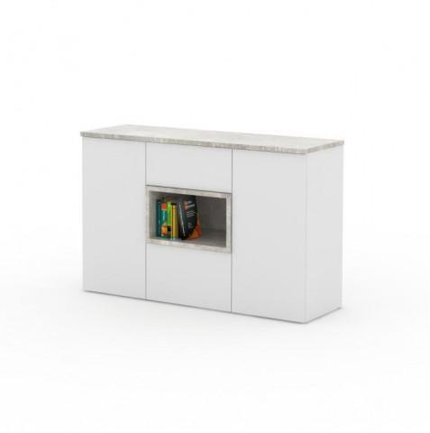 Komoda FARIS 03 - bílá / odstín beton