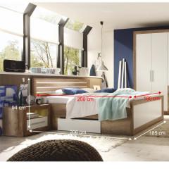 Postel + 2x noční stolek, DTD fóliovaná/MDF, dub monument/bílá, Ferrari