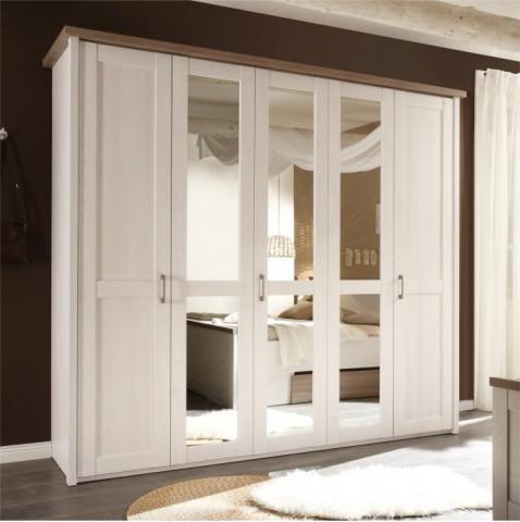 Skříň 5-dveřová LUMERA - pinie bílá / dub sonoma truflový