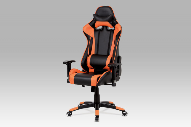 Kancelářská židle KA-G206 ORA - koženka černá + oranžová