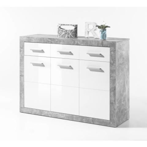 Komoda SLONE 2 3Z + 3D - dekor beton / bílá