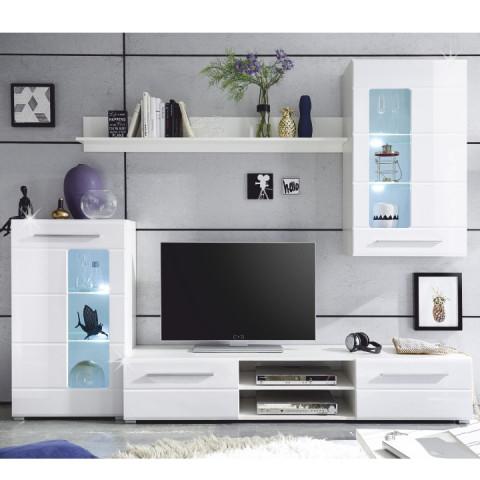 Obývací stěna HENRI - bílá lesk / čiré sklo