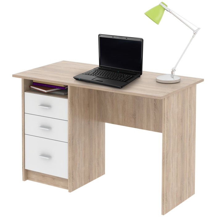 Tempo Kondela PC stůl SAMSON - dub sonoma/bílá + kupón KONDELA10 na okamžitou slevu 3% (kupón uplatníte v košíku)