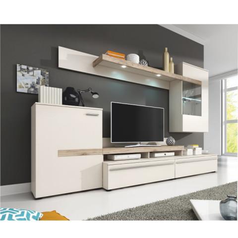 Obývací stěna COBRA - bílá / dub