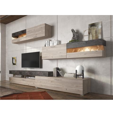 Obývací stěna IOVA - DTD laminovaná, dub nelson / beton