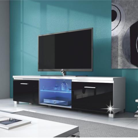 RTV stolek LUGO 2 - bílá / černý extra vysoký lesk HG
