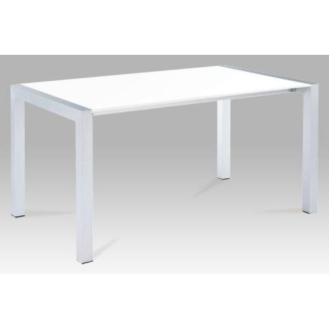 Jídelní stůl DARO - bílá extra vysoký lesk HG / stříbrná