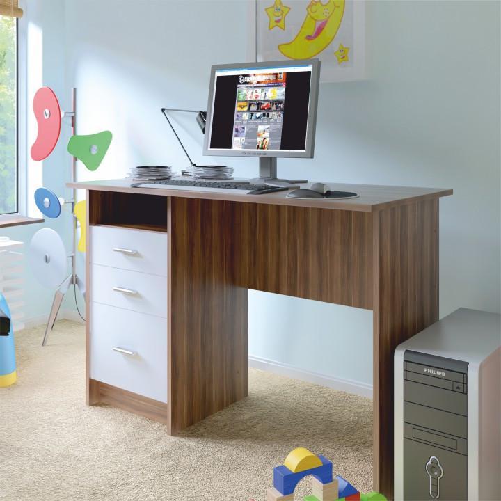 Tempo Kondela PC stůl SAMSON NEW - švestka bílá + kupón KONDELA10 na okamžitou slevu 3% (kupón uplatníte v košíku)