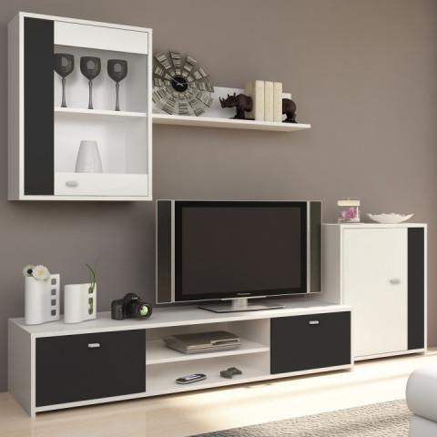 Obývací stěna GENTA - bílá / černá