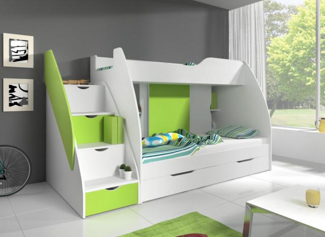 Patrová postel Marek L bílá/zelená