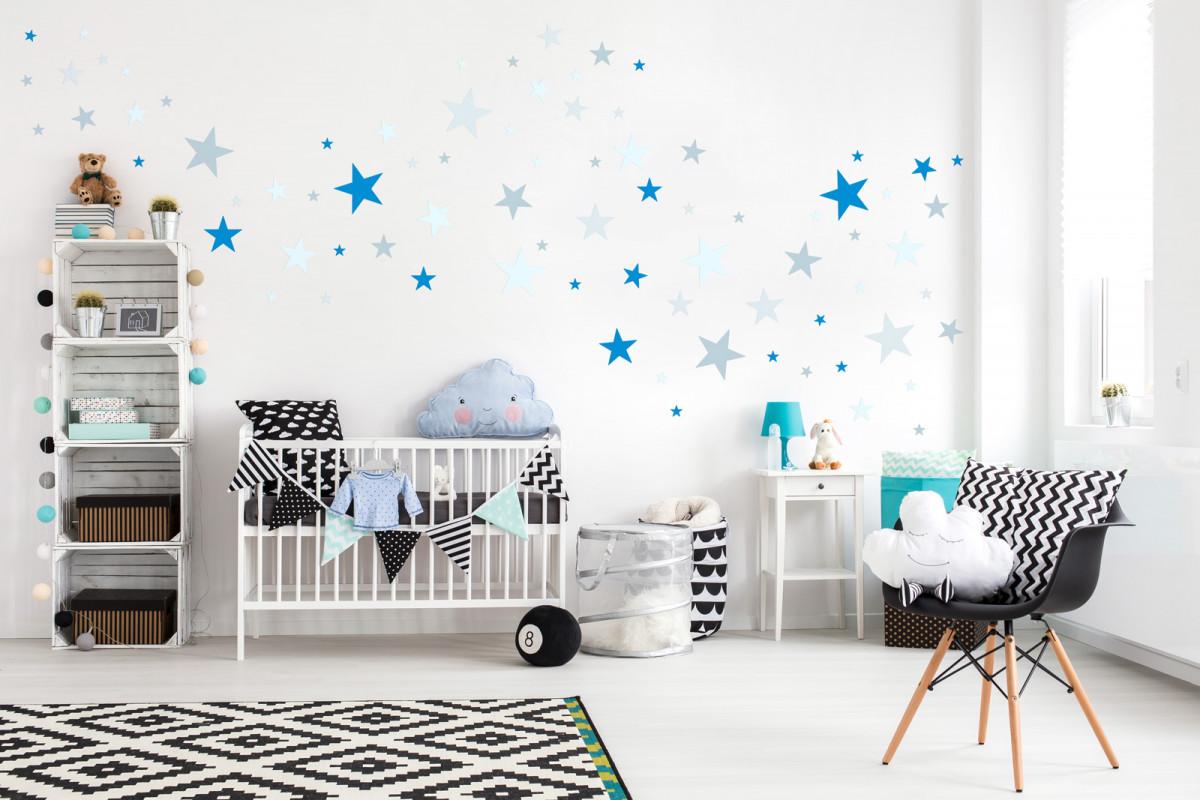 Forclaire Dekorace na zeď - hvězdičky šedá/modrá