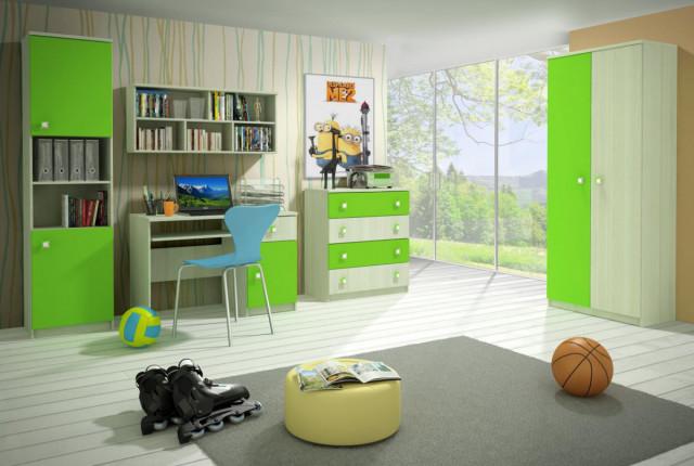 Dětský pokoj Merkur B - jasan/zelená