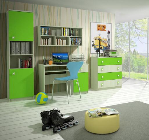 Dětský pokoj Merkur C - jasan/zelená
