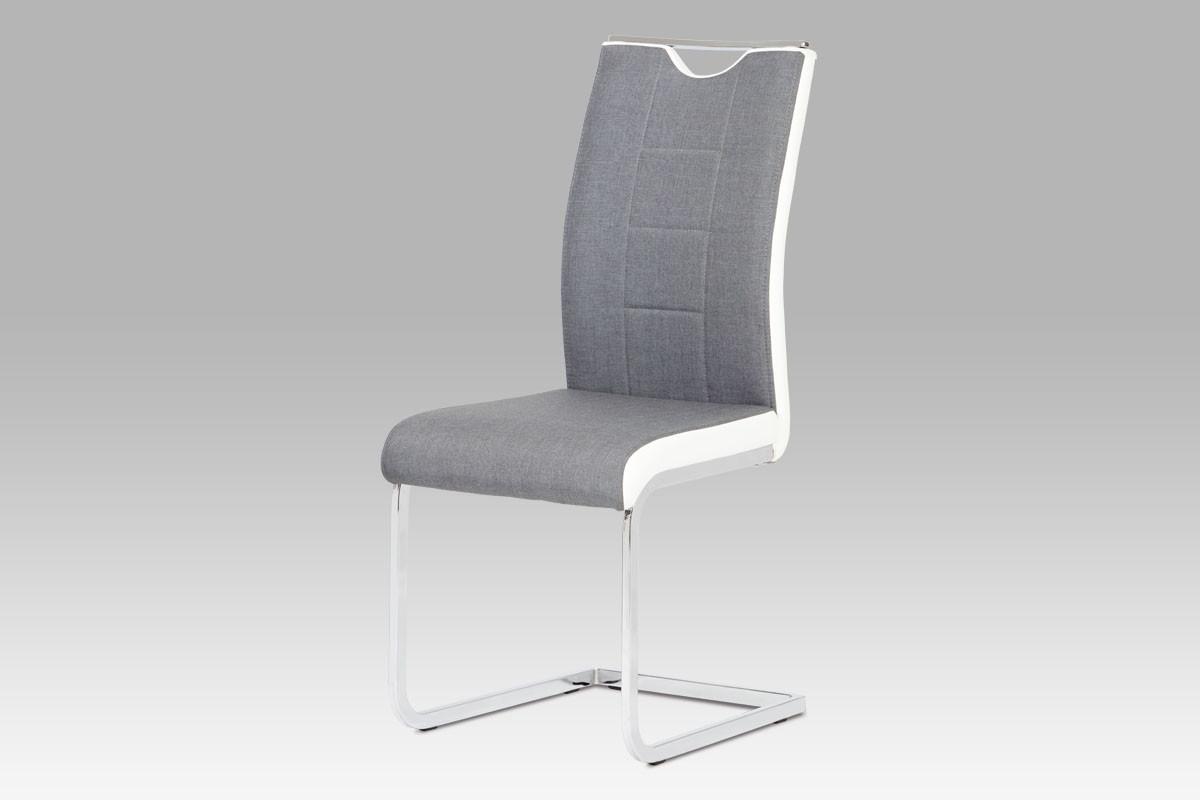 Autronic Jídelní židle DCL-410 GREY2 - šedá látka + bílá koženka