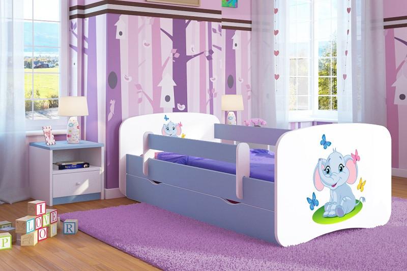 Forclaire Dětská postel se zábranou Ourbaby - Slůně - modrá postel 140 x 70 cm s úložným pr