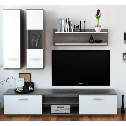 Obývací stěna WAW - dub truflový / bílá