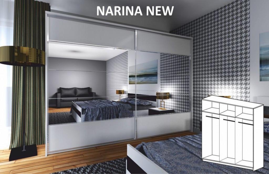 Zrcadlová skříň NARINA NEW 2 - dveřová, bílá / zrcadlo