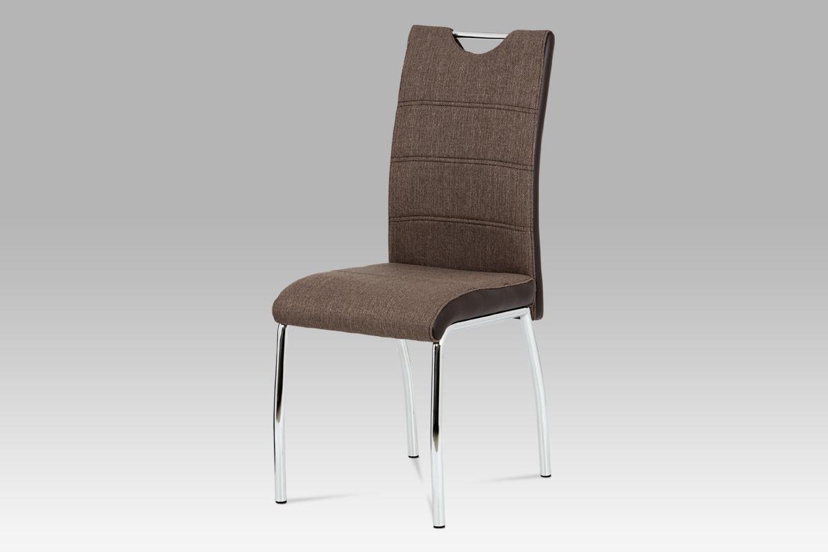 Autronic Jídelní židle HC-586 COF2 - coffee látka + hnědá koženka