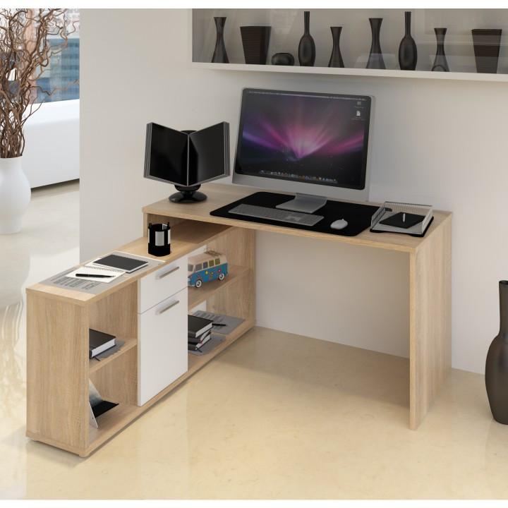 Tempo Kondela PC stůl NOE NEW - dub sonoma / bílá + kupón KONDELA10 na okamžitou slevu 3% (kupón uplatníte v košíku)