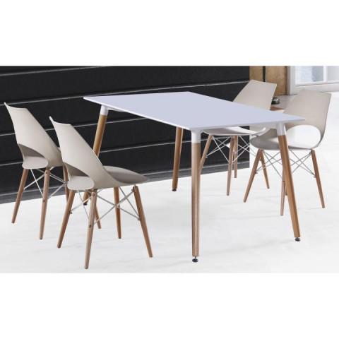Jídelní stůl DIDIER - bílá / přírodní - II. jakost