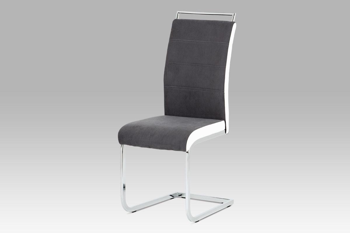 Autronic Jídelní židle DCL-966 GREY2 - šedá látka + bílá koženka