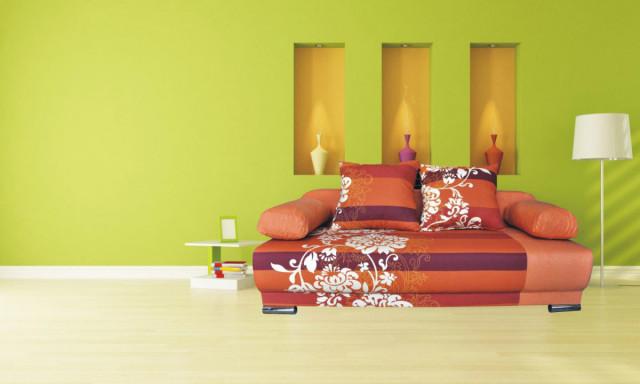 Pohovka Futon - oranžový květ