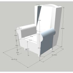 Křeslo/ušák s taburetem ASTRID - Patchwork M1 č.3