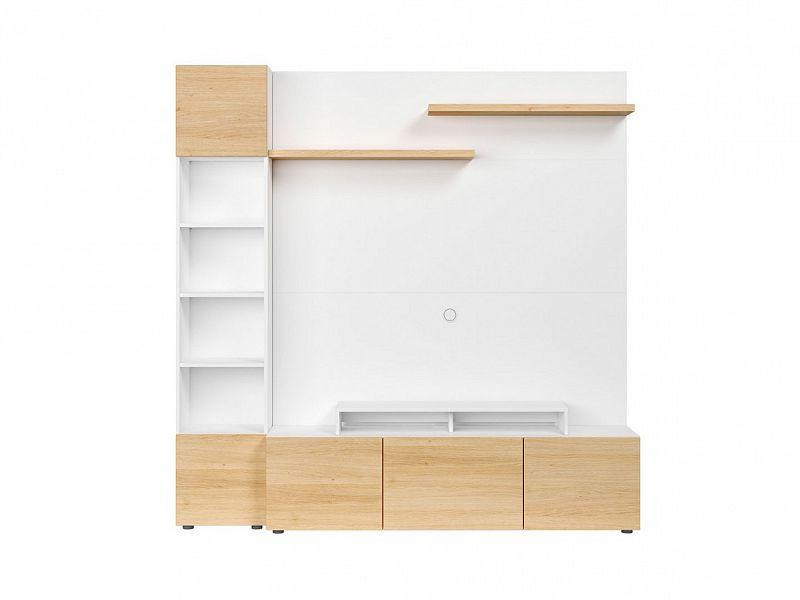 BRW Obývací stěna Muro 200/ASYM - bílá Canadian/dub polský