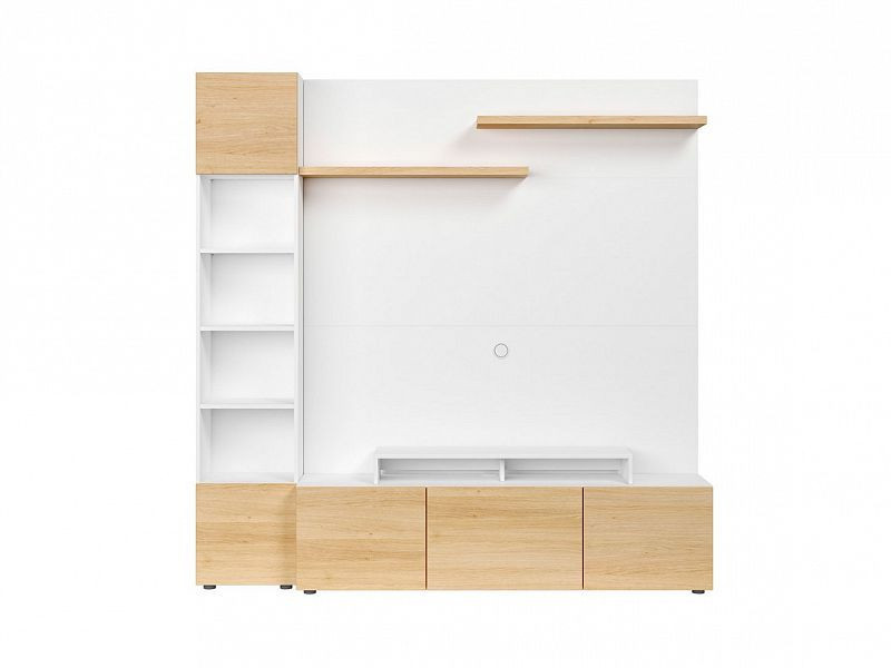 Obývací stěna Muro 200/ASYM - bílá Canadian/dub polský