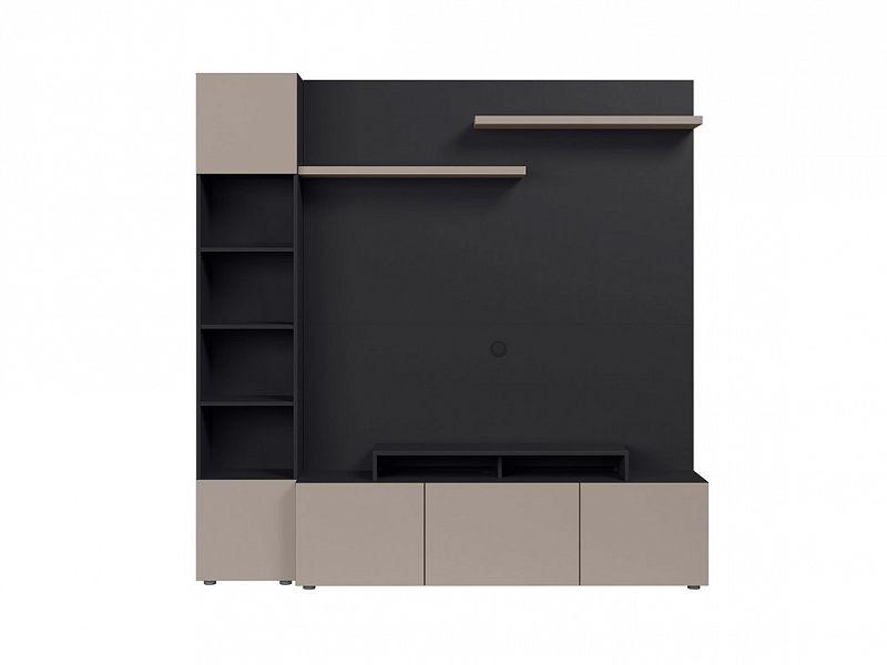 BRW Obývací stěna Muro 200/ASYM - černý antracit/šedá congo