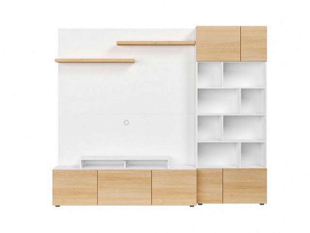 Obývací stěna Muro 240/ASYM - bílá Canadian/dub polský