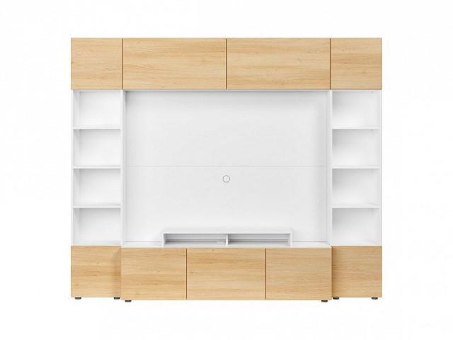 Obývací stěna Muro 240/SYM - bílá Canadian/dub polský