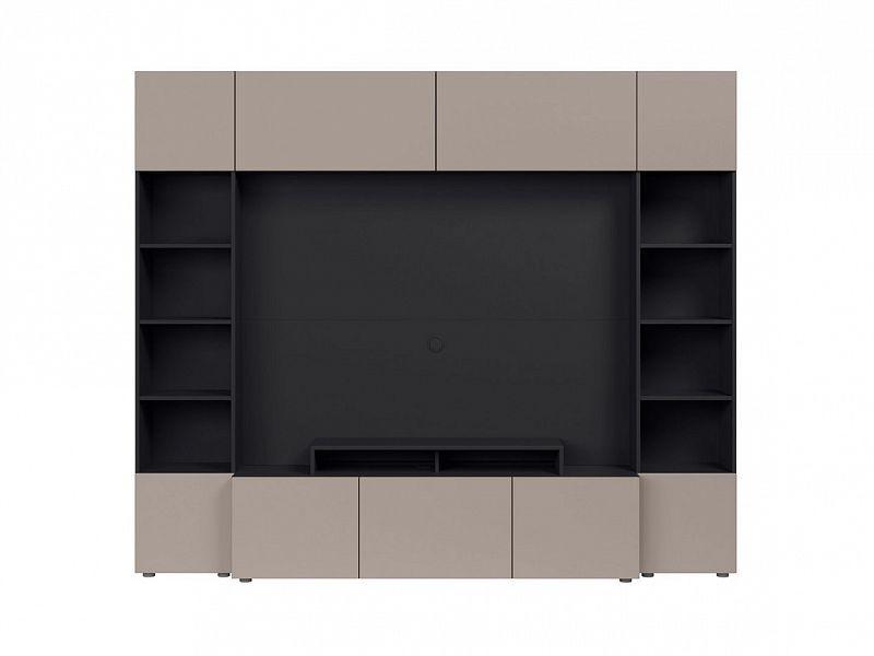 BRW Obývací stěna Muro 240/SYM - černý antracit/šedá congo