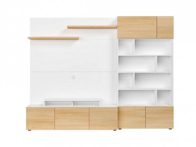 Obývací stěna Muro 260/ASYM - bílá Canadian/dub polský