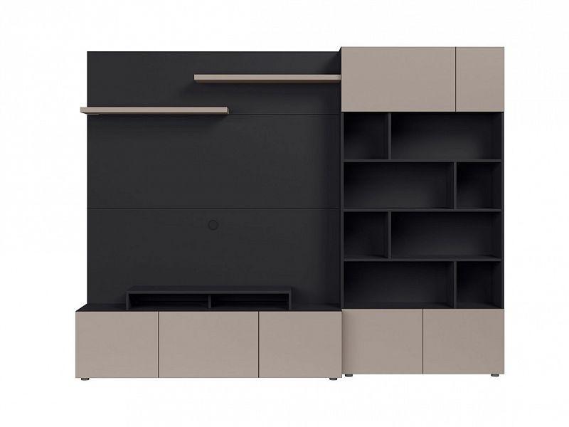 BRW Obývací stěna Muro 260/ASYM - černý antracit/šedá congo