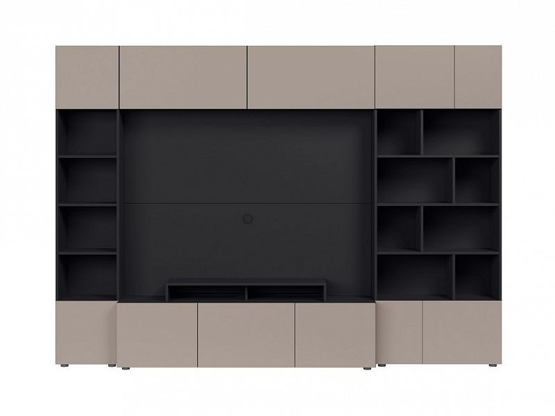 BRW Obývací stěna Muro 280/ASYM - černý antracit/šedá congo