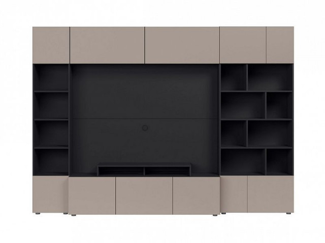 Obývací stěna Muro 280/ASYM - černý antracit/šedá congo