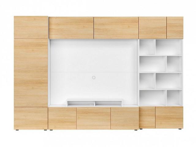 Obývací stěna Muro 300/ZAMK - bílá Canadian/dub polský