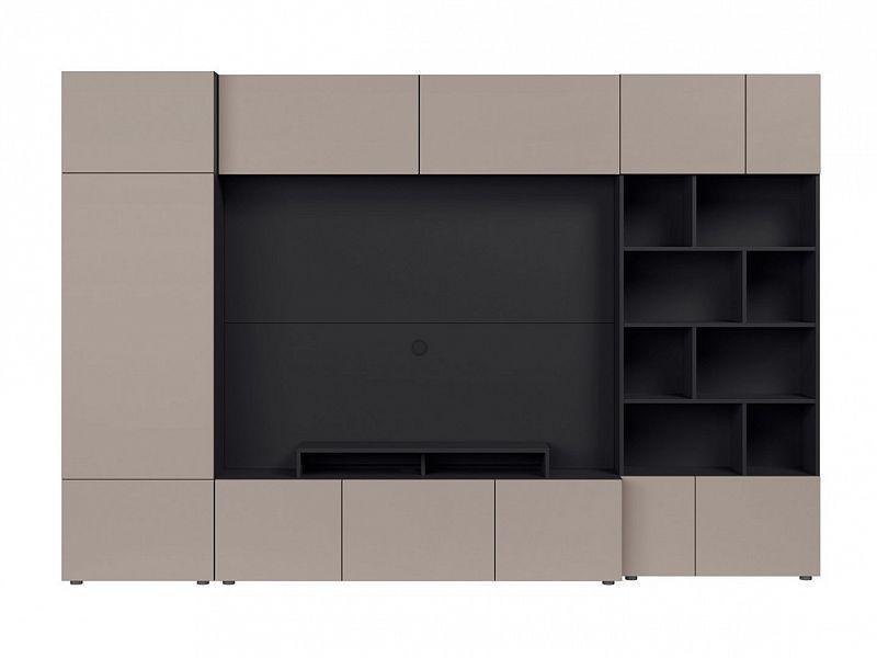 BRW Obývací stěna Muro 300/ZAMK - černý antracit/šedá congo