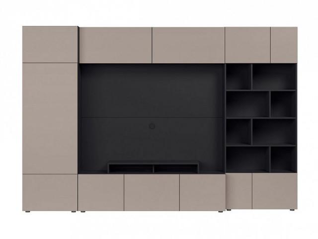 Obývací stěna Muro 300/ZAMK - černý antracit/šedá congo