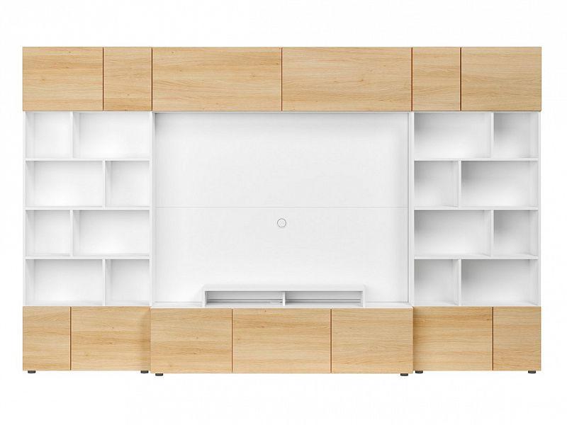 BRW Obývací stěna Muro 320/SYM - bílá Canadian/dub polský